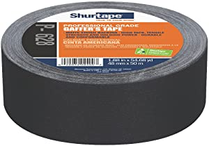 Shurtape P- 628 Professional Grade, Coated Gaffer's Tape, Social Distancing Marking, 48mm x 50m, Black, 1 Roll (138775)