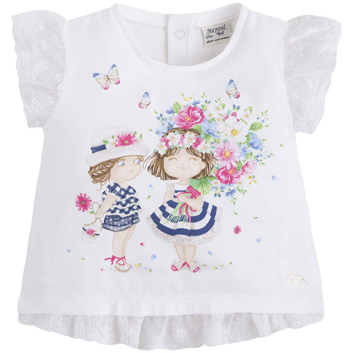 Baby Girls 3M-24M Lace Trim Novelty Print Short Sleeve T-Shirt