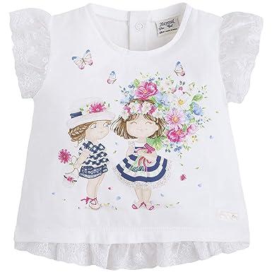 5942a68c7 Amazon.com: Baby Girls 3M-24M Lace Trim Novelty Print Short Sleeve T ...