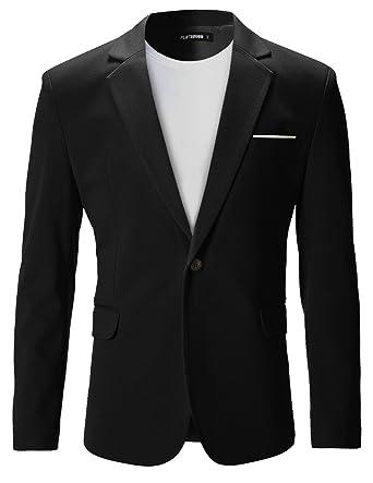 82fe51959f7de8 FLATSEVEN Herren Slim Fit Freizeit Premium Blazer Sakko (BJ102) Black, XL
