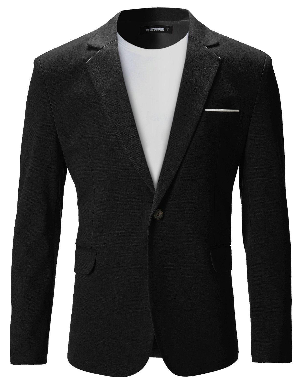 FLATSEVEN Mens Slim Fit Casual Premium Blazer Jacket (BJ102) Black, XXL
