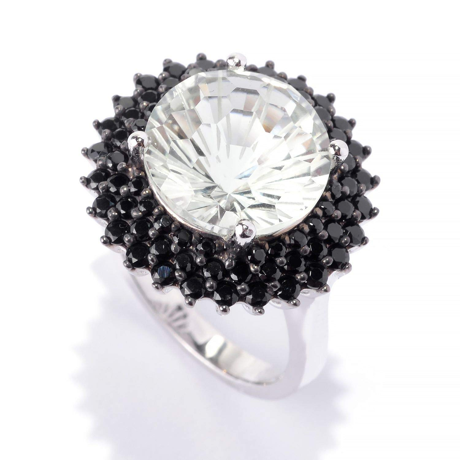 Size 7 Pinctore SS// 12mm Round 6.21ctw Green Amethyst /& Black Spinel Halo Cocktail Ring