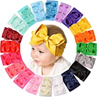 20pcs 6 Inches Baby Girls Big Bows Headbands Elastic Nylon Hairbands Turban Hair Accessories for Newborns Infants…