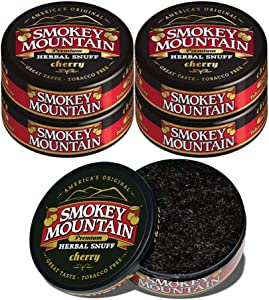 Smokey Mountain Herbal Snuff - Cherry - 5 Cans - Nicotine-Free and Tobacco-Free