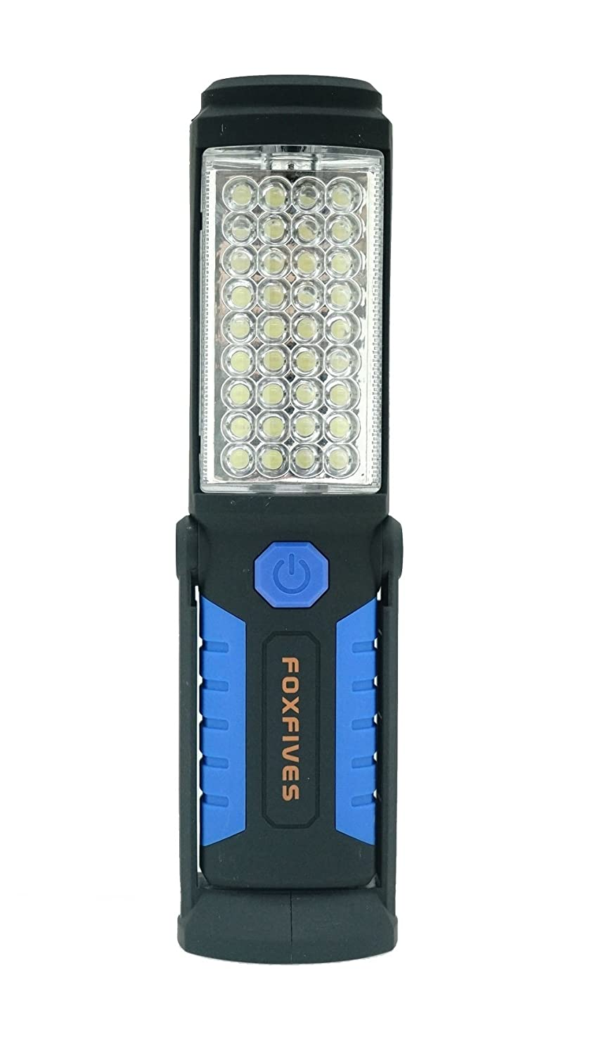 Rechargeable Inspection Lamp 36+5 LED Torch Camping Light Hands-Free Work Light Flashlight Magnet Base and Hanging Hook for Home, Auto Repair, Outdoor Camping Hiking Garage Emergencies Use (Blue) FOXFIVES