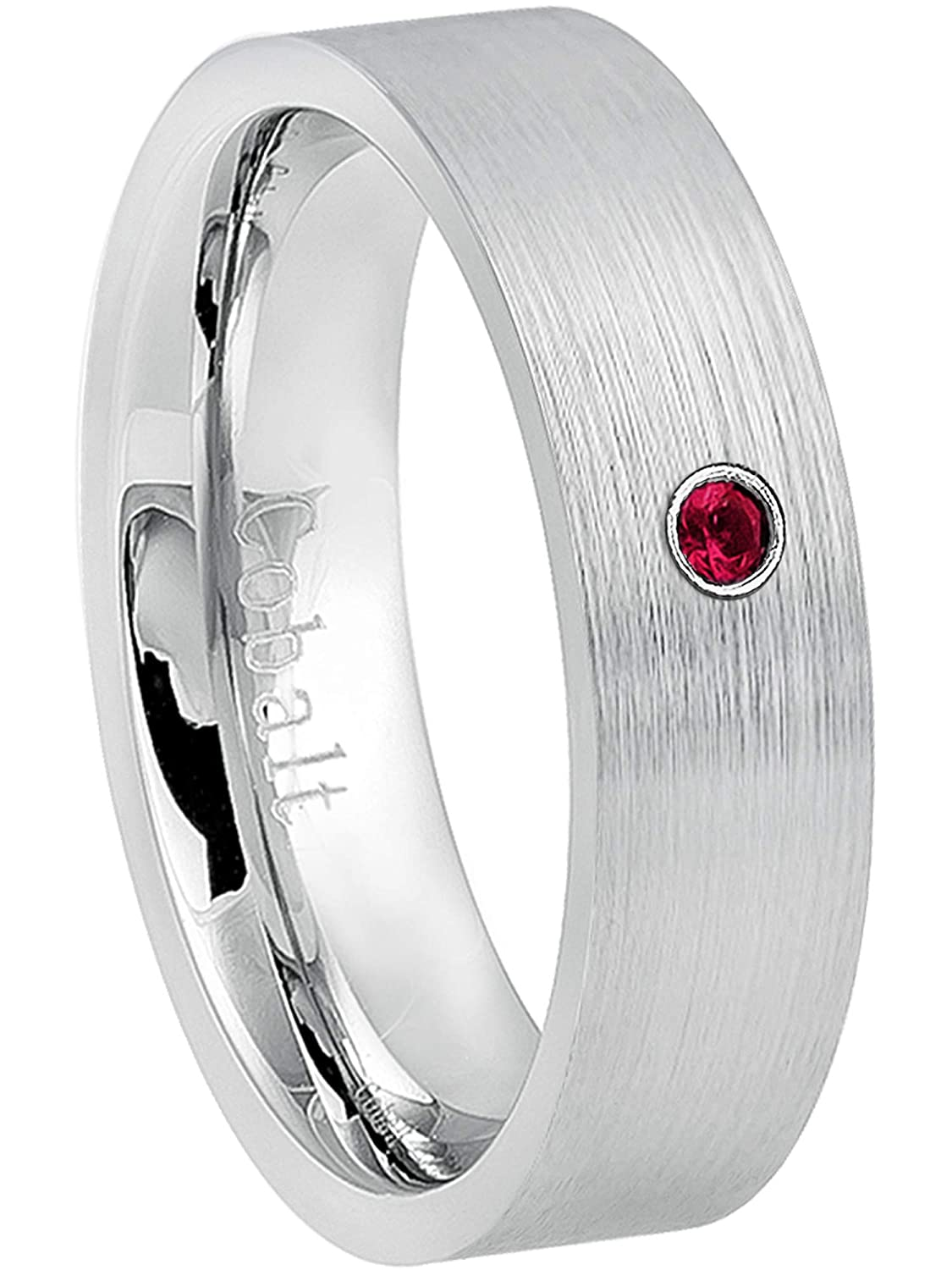 74c5f3481af61 Jewelry Avalanche 6MM Comfort Fit Brushed Pipe Cut Women's Cobalt Chrome  Wedding Band - 0.07ct Ruby Cobalt Ring - July Birthstone Ring