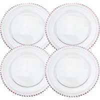 Clear Glass Charger 12.6 Inch Dinner Plate With Beaded Rim - Set of 4