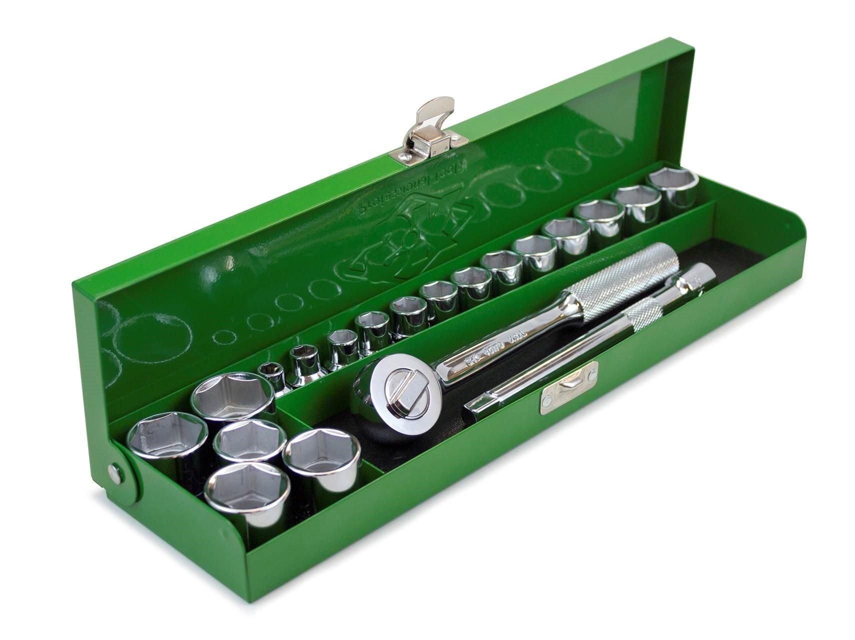 SK Hand Tool 94521 Full Range 3/8 Metric Metal Box (20 Piece)