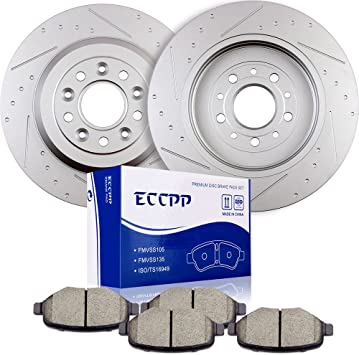 Ceramic Pads Kit 2009 2010 Ford Flex Taurus Lincoln MKS MKT Front Brake Rotors