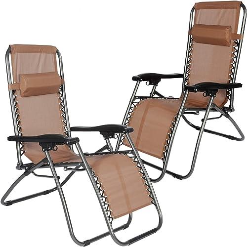 Livebest Zero Gravity Chair 2 Pack Outdoor Adjustable Folding Recliner