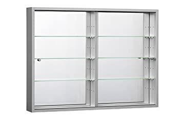 ORBIT WALLMOUNTED GLASS DISPLAY CABINETS SLIDING DOORS MIRROR (ORBIT PLUS  SILVER)