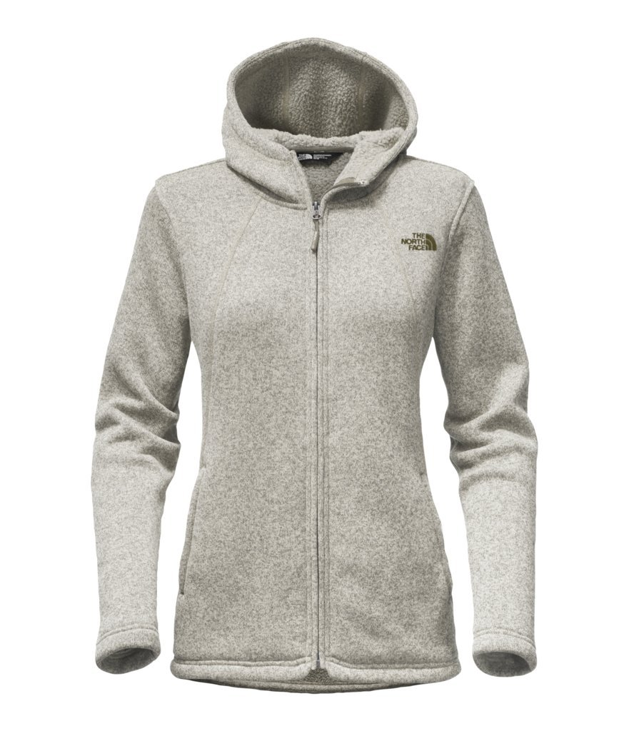 The North Face Women's Crescent Full Zip Hoodie - Vintage White Heather/Burnt Olive Green - XL (Past Season) by The North Face