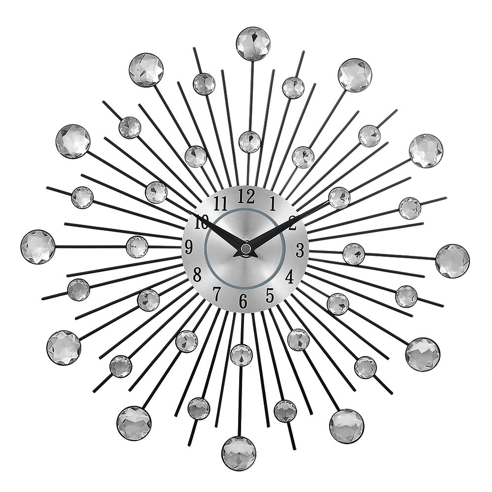 CBHQUSF Decorative Crystal Sunburst Metal Wall Clock Home Art Decor Diameter 13 inch