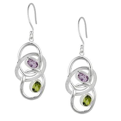 Silverly Women's .925 Sterling Silver Amethyst Gemstone Oval Teardrop Dangle Drop Earrings TuX6jwm6y