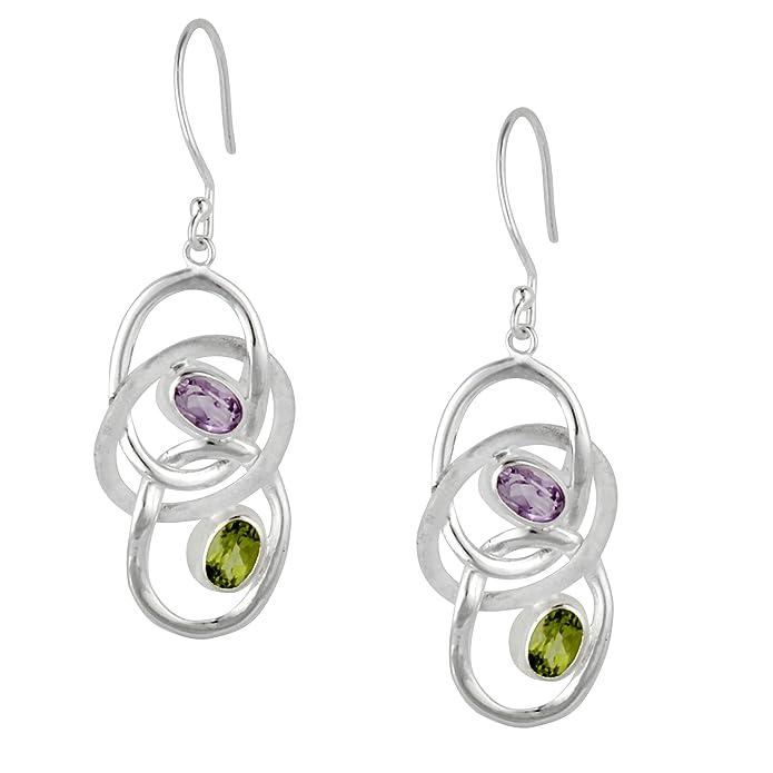 Silverly Women's .925 Sterling Silver Amethyst Gemstone Oval Teardrop Dangle Drop Earrings L2Qberq