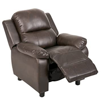 Harperu0026Bright Designs Kids Recliner With Cup Arms PU Leather Sofa Chair For  Child (Brown /