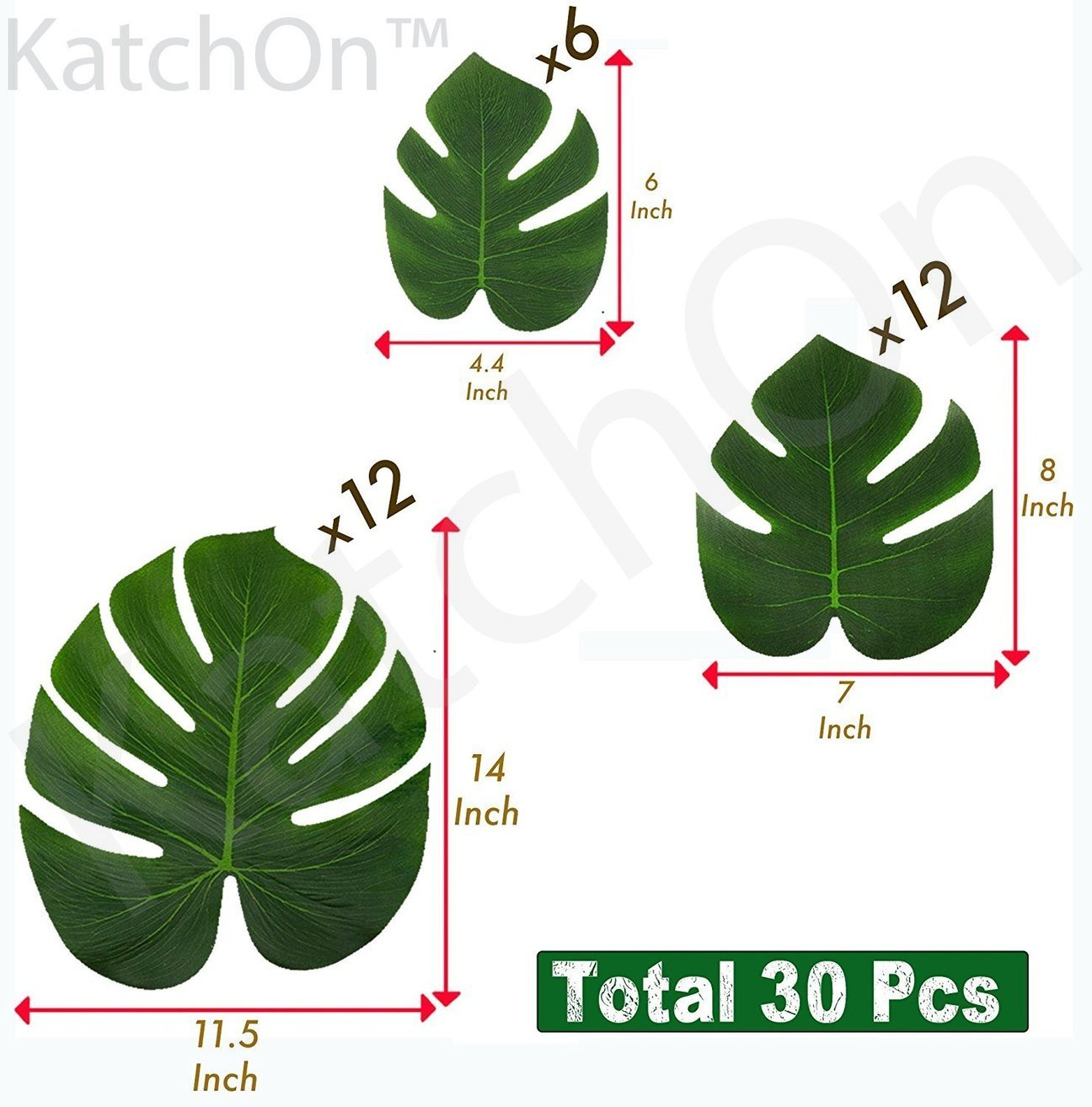 Real Looking Artificial Plant Leaves - Pack of 30 | Monstera Palm Leaves | Tropical Leaves Decorations | Palm Leaves Decorations | Luau Safari Party Supplies | Jungle-Beach-Birthday Theme | 3 Sizes - BEAUTIFUL REAL LOOKING DESIGN --- These beautiful real looking green plant leaves with comfortable silk touch will add fresh natural look to your greenery themed decorations and will make your guests feel like they're in paradise with these realistic polyester leaves EASY TO USE | REUSABLE --- Decorate your home and events with ease with this reusable leaves | Use as Table Decoration | Place it in Vase | Use as Party Favors | Stick Them on Walls | Scatter them all over Event to create a Beautiful Ambience | REUASE AFTER EVENT | Home Living room Deocarions | Dining Table Deocarations | Bedroom Decor | Art Gallery and so much more fun BUY RISK FREE |100% MONEY BACK GUARANTEE If you are not completely satisfied with your purchase from KatchOn Store - living-room-decor, living-room, home-decor - 71qAmrdarhL -