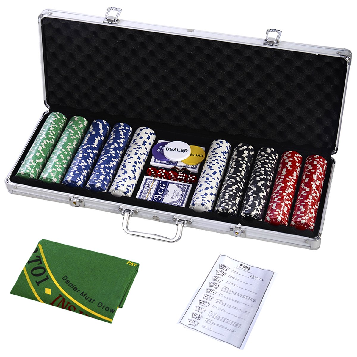 Goplus 500 Chips Poker Dice Chip Set 11.5 Grams Texas Hold'em Cards w/Silver Aluminum Case & Placemat