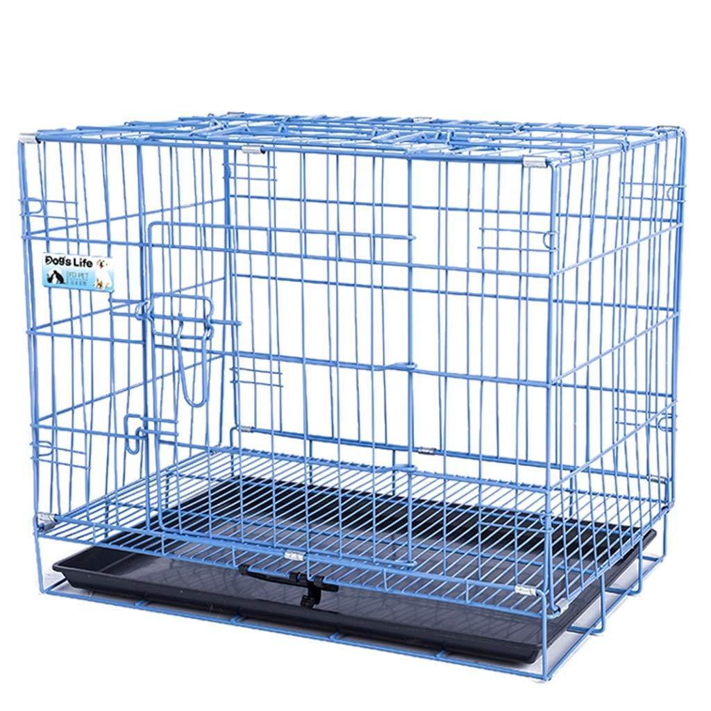 Gabbiette Cestello Porta Gabbie in Metallo Cestello Portadocumenti Portatile per Cani Cucciolo - Grande, Blu (Dimensioni   60×42×51cm)