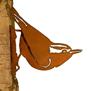 Elegant Garden Design Nuthatch, Steel Silhouette with Rusty Patina