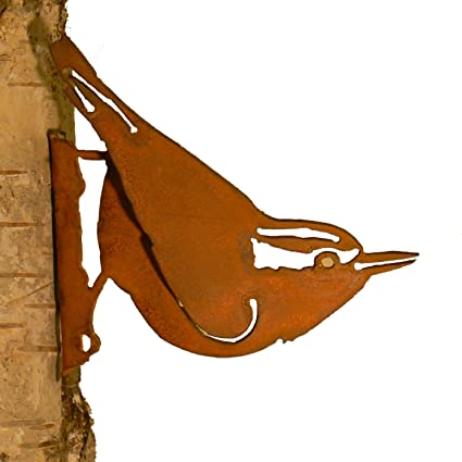 Superbe Elegant Garden Design Nuthatch, Steel Silhouette With Rusty Patina