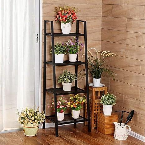 TR Soporte de flores para interiores, trapezoidal negro ...