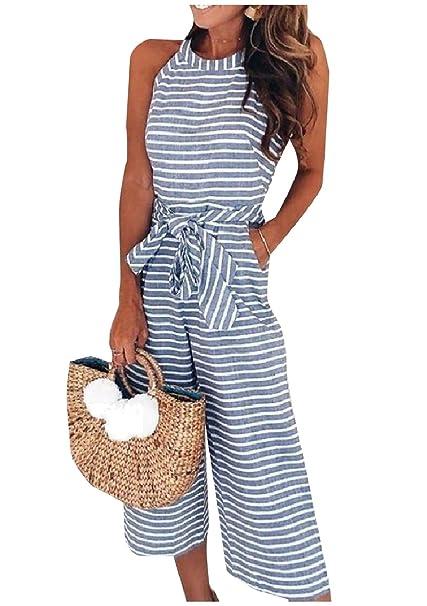 12122f29ca86 Amazon.com  Vska Women s Belted Wide Leg Organic Cotton Crewneck Jumpsuit  Romper  Clothing