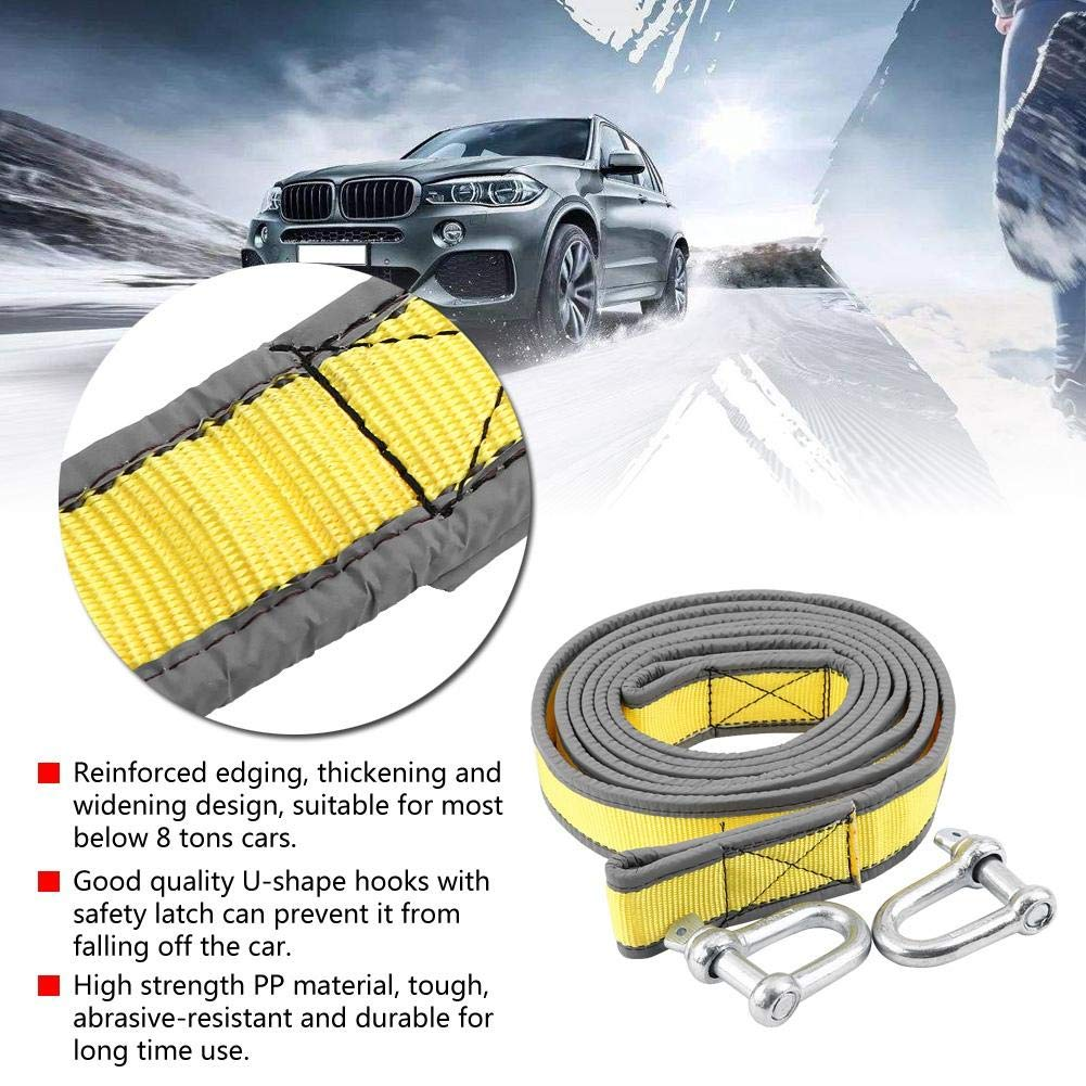 Trailer Hitch Recovery Tow Strap 8 Tons 4 Meters with U-shape Hooks Light Reflection PP Material Duokon Brand New Car Trailer Towing Rope Orange