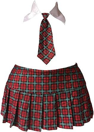 Tamaño de la Plus colegiala mini falda disfraz Tartán Rojo Cuadros ...