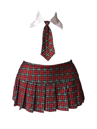 cece7fa3c24a Sexy School Girl Mini Skirt Costume Red Plaid Tartan w/Collar & Tie Cosplay  (