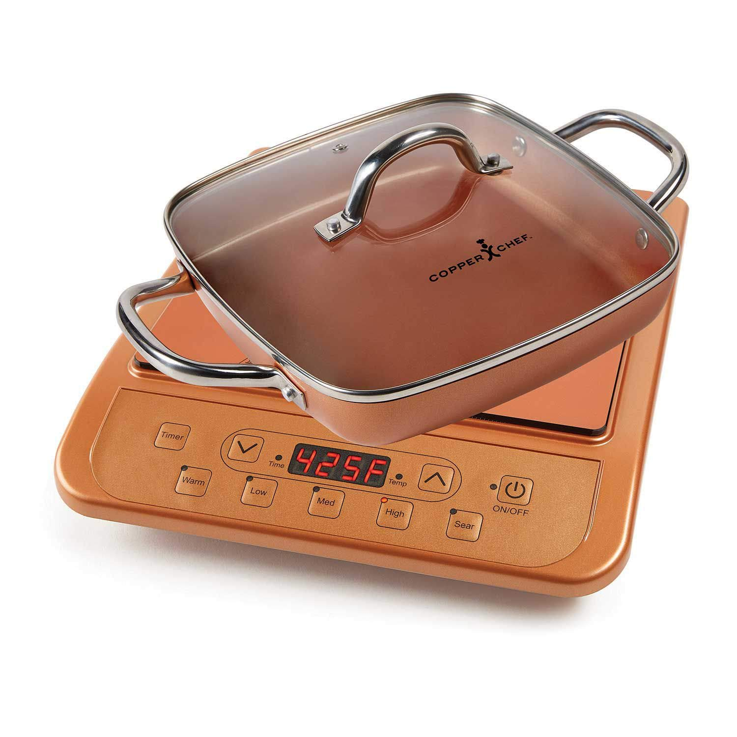 Copper Chef Induction Cooktop (Cooktop and 11'' Casserole Pan, Copper)