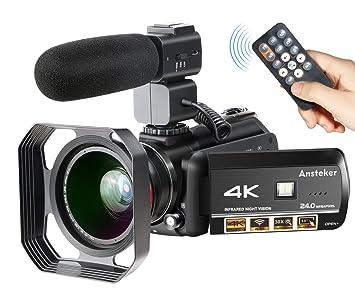 Videocámara 4K WiFi Ansteker Ultra-HD Cámara Digital Vídeo 1080P 13MP 30FPS IR Visión Nocturna Videocámara con micrófono y Lente Gran Angular y Parasol: ...