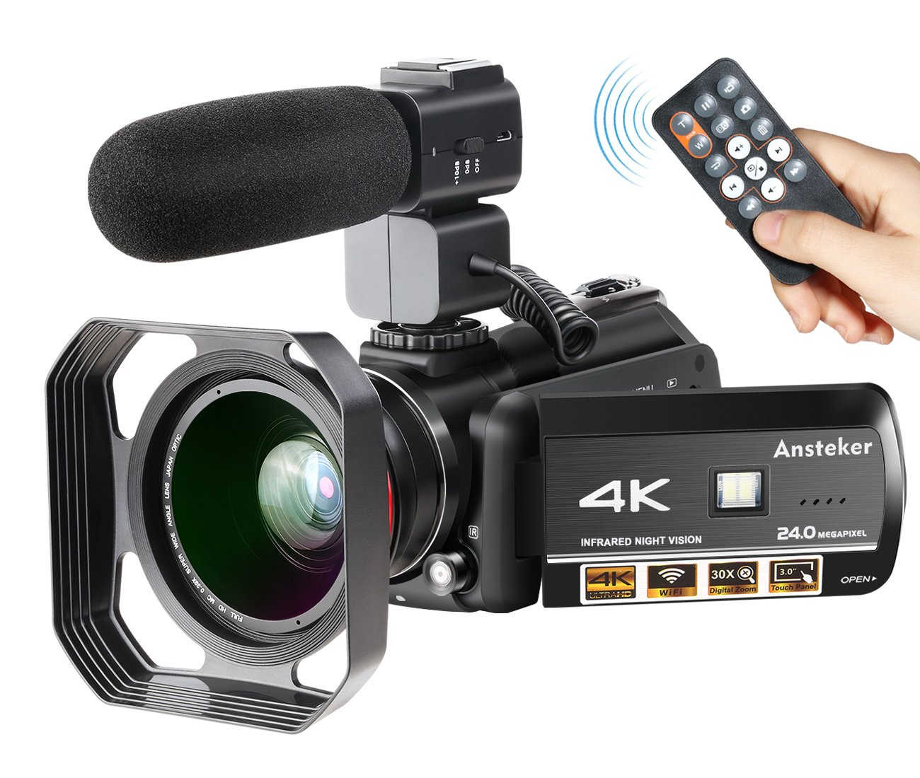 4K Camcorder, Ansteker Ultra-HD 1080P 24MP 30FPS Digital Wifi Video Camera, IR Night Vision Camcorder with Microphone and Wide Angle Lens,Lens hood (HDV-107)