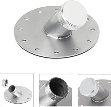 Aluminum 45 Degree 12 Bolt Flange Billet Fuel Cell Fast Fill Filler Neck Silver