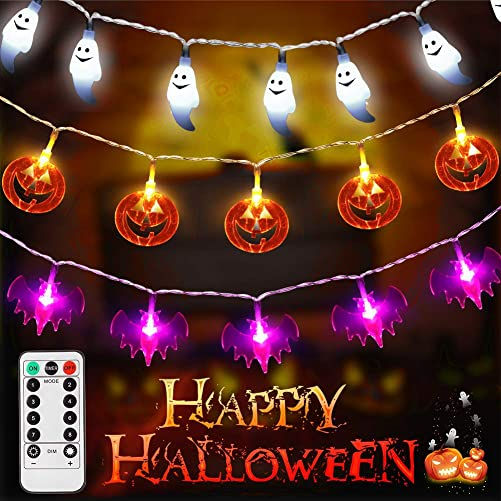 LUNSY Halloween String Lights Battery Operated, Remote Control, Bat White Ghost Pumpkin, 90LED , 22.74ft, 8 Modes, Indoor Outdoor Halloween Party Decorations