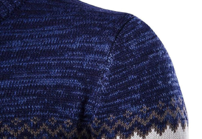 VividYouMen Thick Ethnic Style Geometric Knitting Warm Pullover Sweaters