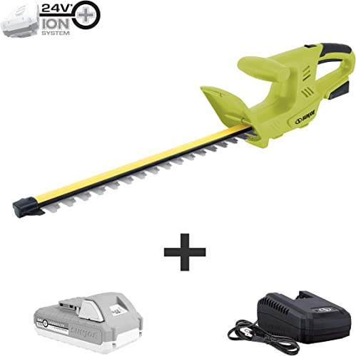 Sun Joe 24V-HT18-LTE 24V 2.0Ah 18-in Cordless Handheld Hedge Trimmer 5 8 Cutting Capacity, Kit w 2.0 Ah Battery Quick Charger