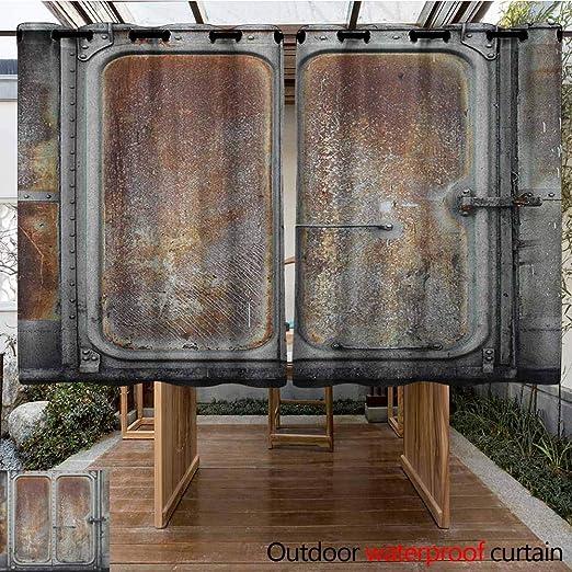 AndyTours Panel de Cortina Superior con Ojales para Exteriores, Industrial, Hierro Oxidado estilizado, para Entrada, de Acero Rayado, con Arandelas para Dormitorio, Color Gris Pardo Oscuro: Amazon.es: Jardín