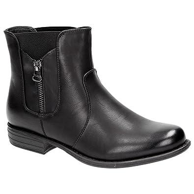 5420c7a9ea9aa7 Claudia Ghizzani Damen Mädchen Chelsea Boots Stiefelette Schuhe Schwarz