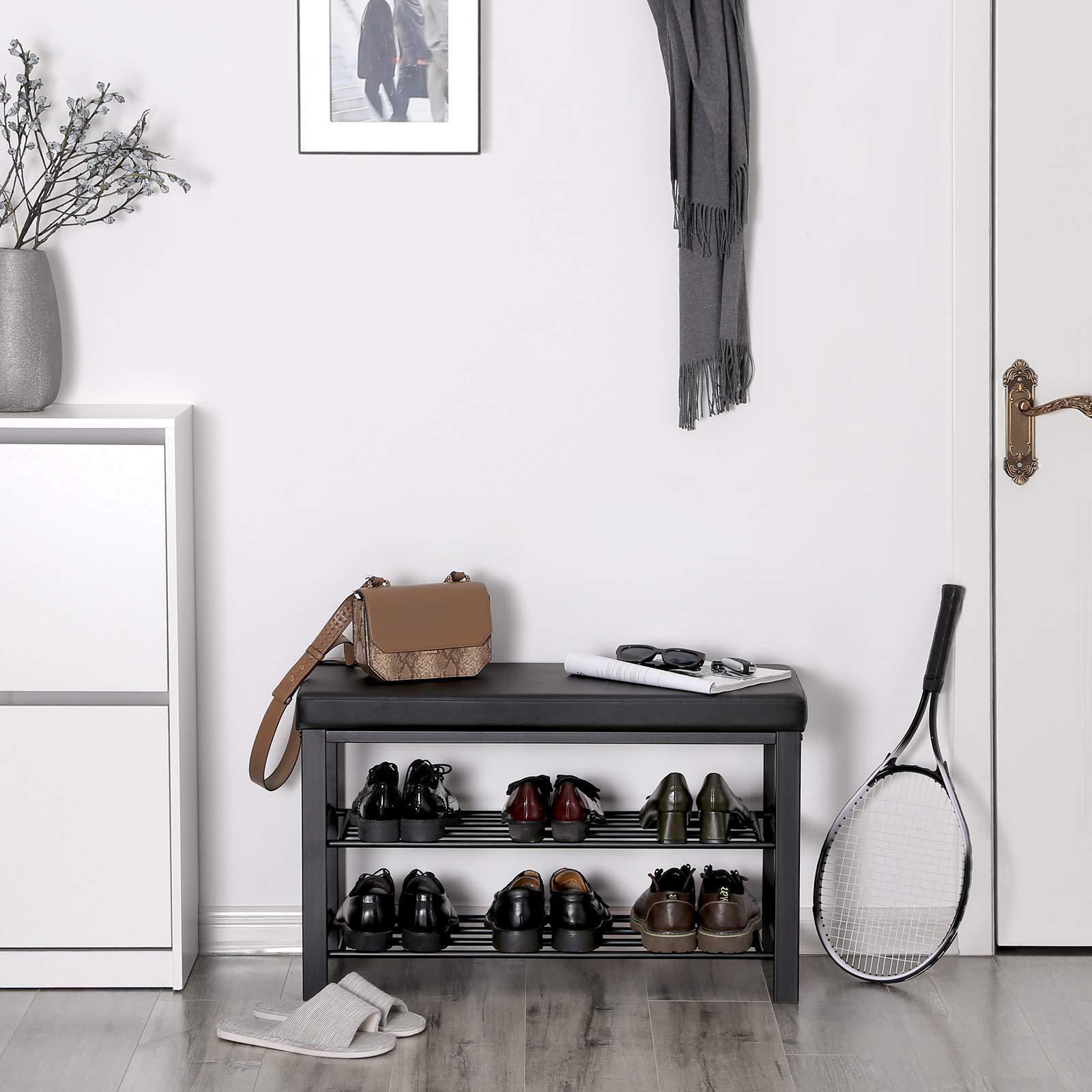 SONGMICS Metal Shoe Bench Entryway Shoe Storage Organizer Faux Leather Top