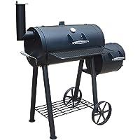 Edmondton El Fuego BBQ Smoker XXL schwarz Räucherofen Garten ✔ Rollen ✔ Deckel ✔ Ablagefläche ✔ rund ✔ rollbar ✔ stehend grillen ✔ Grillen mit Holzkohle ✔ mit Station ✔ mit Rädern