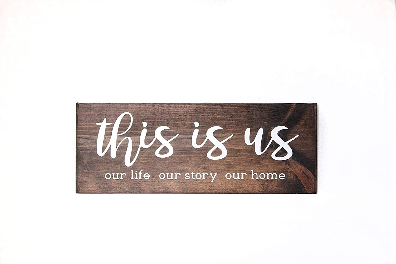 Amazon Com Dark Walnut This Is Us Wood Sign Modern Farmhouse Style Wooden Wall Decor Handmade