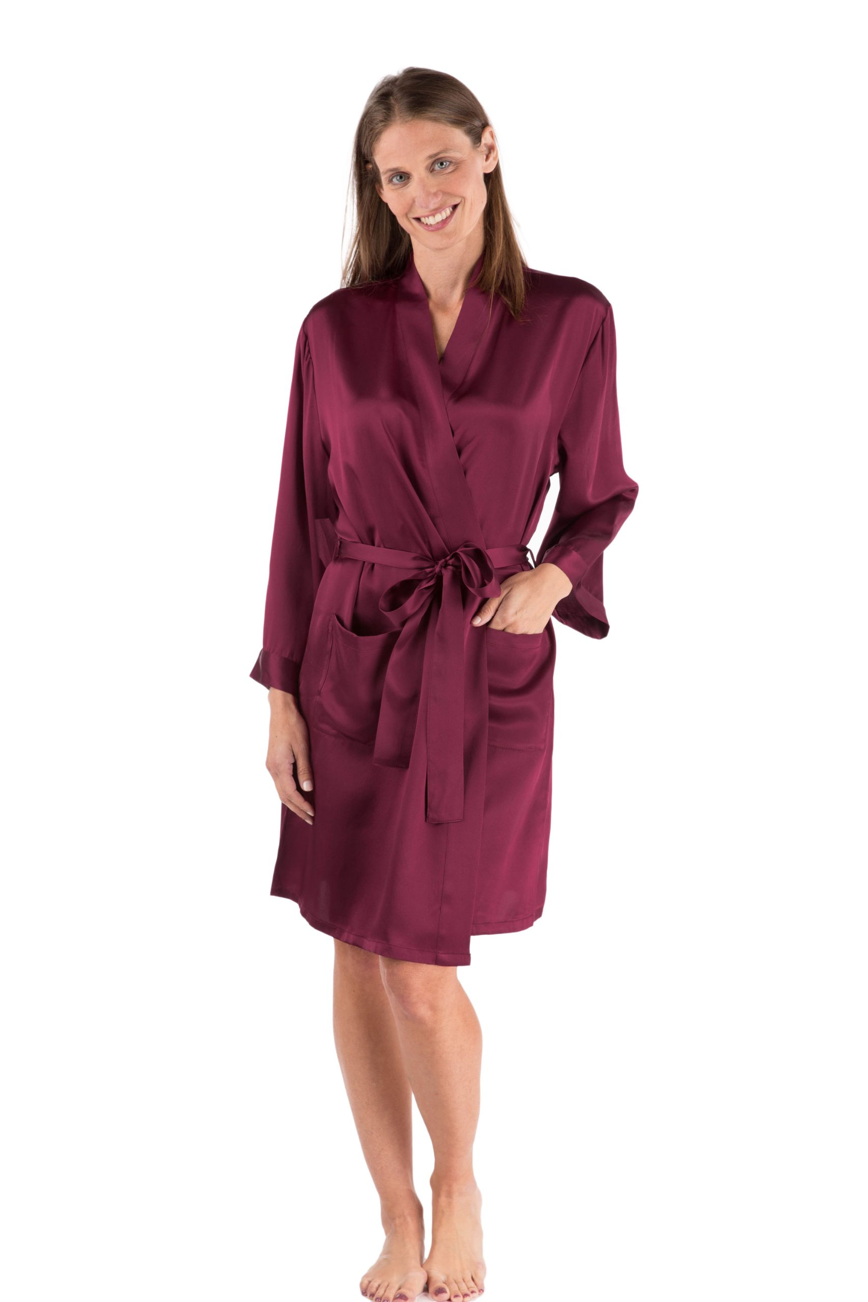 TexereSilk Women's Short Silk Bathrobe (Wine, Small/Medium) Great Gifts for Bridal Shower WS0105-WNE-SM