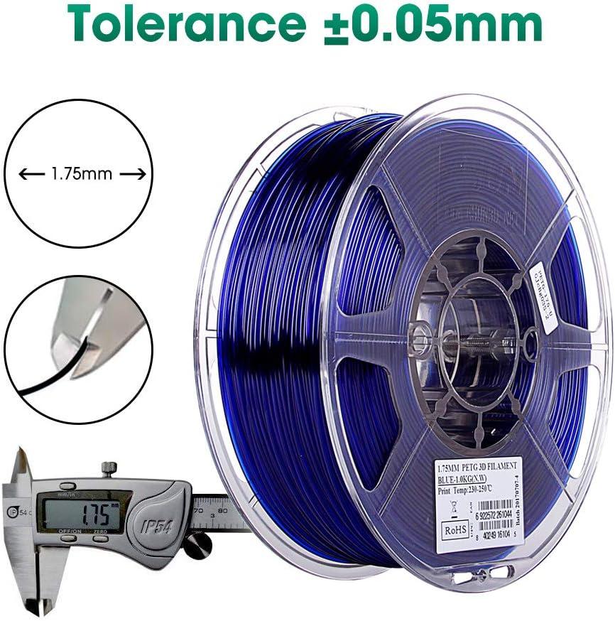 eSUN 1.75mm Blue PETG 3D Printer Filament 1KG Spool 2.2lbs Semi-Transparent Blue IG-C-PETG175U1