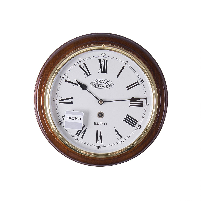 Seiko Dark Wooden Quartzbattery Round Station Wall Clock With Gold