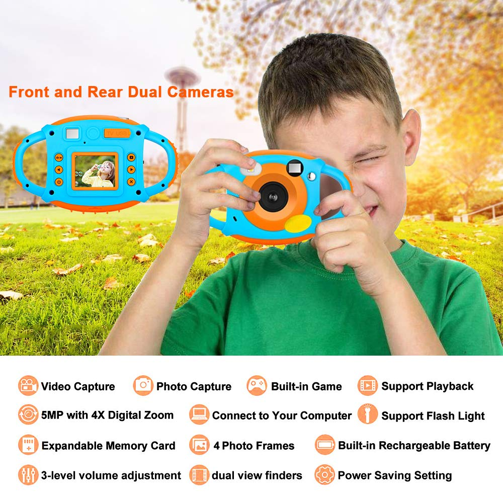 Kids Camera DIWUER Shockproof Digital Camera Children Creative Gift Mini Video Camcorder for Boys Girls with Soft Silicone Shell Mic Flash and 16GB Memory Card by DIWUER (Image #6)