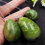 Elegiant Conjunto de 3de jade blanco natural Huevo para Kegel Ejercicio los músculos pélvicos Vaginal Yoni Huevo Ben Wa pelota atención de la salud para mujer regalo