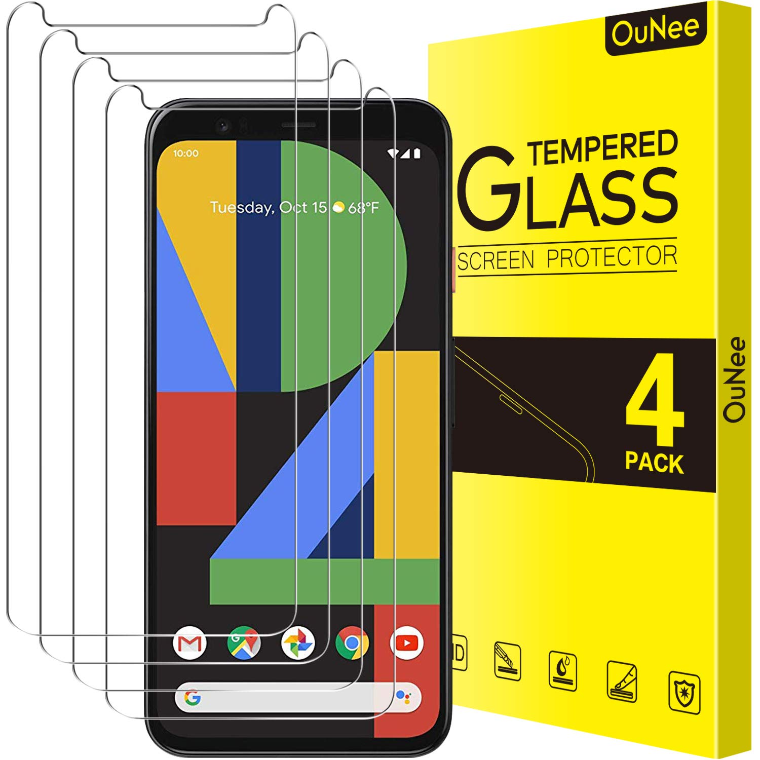 [4 Pack] OuNee Google Pixel 4XL Screen Protector, Tempered Glass, 9H Hardness, HD Clear, Scratch Resistant, Case Friendly Screen Protectors for Pixel 4 XL (2019)