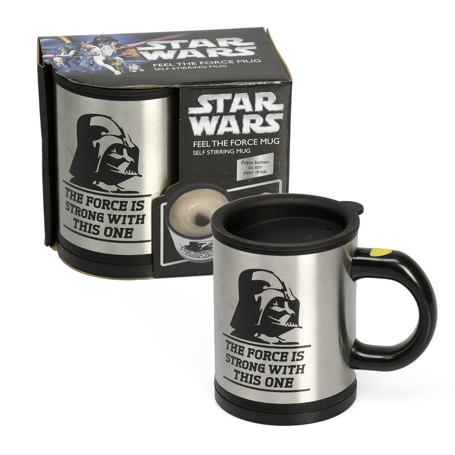 Star Wars Darth Vader 12 oz. Stainless Steel Self Stirring Travel Mug - Mix Your Drink with the Force Artist Not Provided Everready First Aid UGTSW35747 Miscellaneous