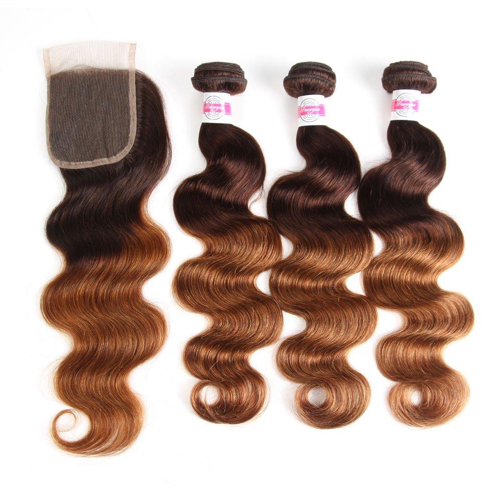 2 Tone Ombre Hair 3 Bundles With Closure Brazilian Virgin Hair Body Weft Ombre Human Hair Bundles T4/30 Medium Brown/Medium Auburn(16 18 20with14) by FASHION VILA